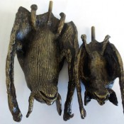 Bronze bat sculptures created for Limestone Cave