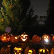 Lighted jack-o'-lanterns just after dusk
